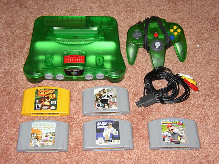 N64 console (w/ RAM expansion, AV cable, RAM cover missing)
