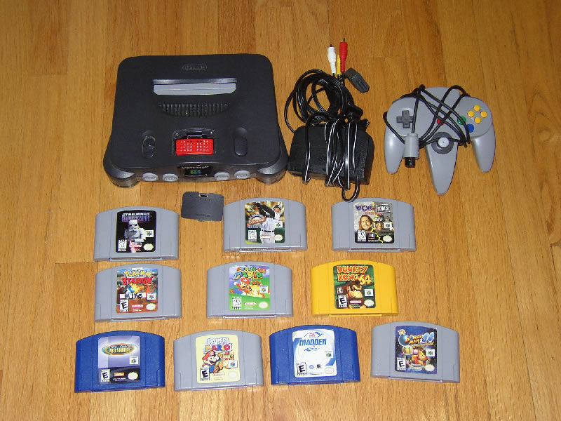 N64 console (w/ power adapter, AV cables, expansion pack)